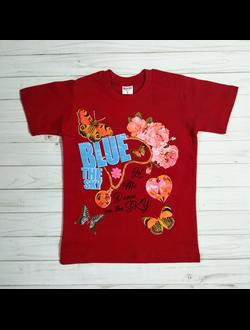 Футболка для девочки (Артикул 1276) цвет красный