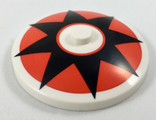 Dish 4 x 4 Inverted Radar with Solid Stud with Black 8 Point Star on Red Circle Pattern, White (3960pb046 / 6210473)