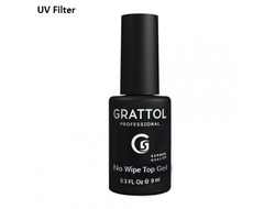 Grattol No Wipe Top Gel - Топ без липкого слоя c УФ фильтром, 9 мл