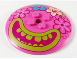 Dish 6 x 6 Inverted Radar - Solid Studs with 4 Flowers and Large Magenta Mouth, Lime Lips and Teeth Pattern, Dark Pink (44375bpb13 / 6294392)