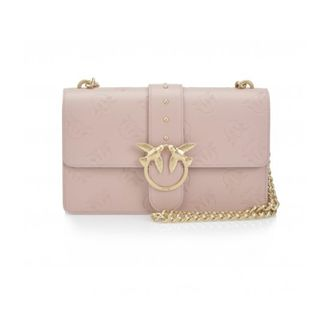 PINKO SMOOTH LEATHER SHOULDER BAG WITH EMBOSSED PRINT CHINTZ ROSE