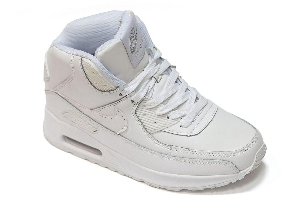 Купить зимние кроссовки Nike Air Max 90 Fur Белые Женские кожаные с ... dd98e1dab2b