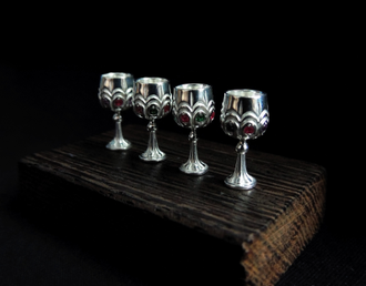 Silver glasses with stones