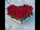 101 роза в колбах в виде сердца