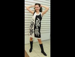 79ef269e1443046 Платье из белого льна с вышивкой Наталья Гайдаржи АРТ - ПВБ1015/НА ЗАКАЗ