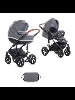 Универсальная коляска Tutis Zippy Mimi Style (2 в 1) Цвет 600 Серый лен/серо-белый узор/кожа Коричневая