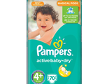 Подгузники Pampers Active Baby-Dry 4+ Maxi 9-16 кг 70 шт.