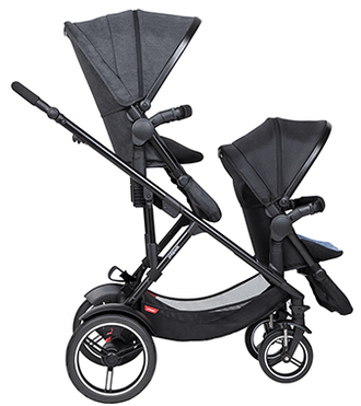 Коляска для двойни и погодок Phil and Teds Voyager Charcoal Grey