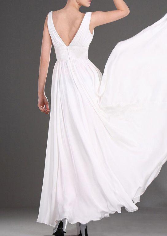 6d5fb86aa3d Выпускное платье шифоновое белое длинное классического А-силуэта с ...