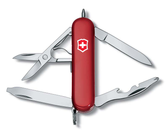 Нож-брелок VICTORINOX Midnight Manager, 58 мм, 10 функций, красный