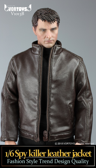 Комплект одежды (куртка, кобура и пистолет P226) 1/6 scale Spy killer leather jacket V1013 B VORTOYS