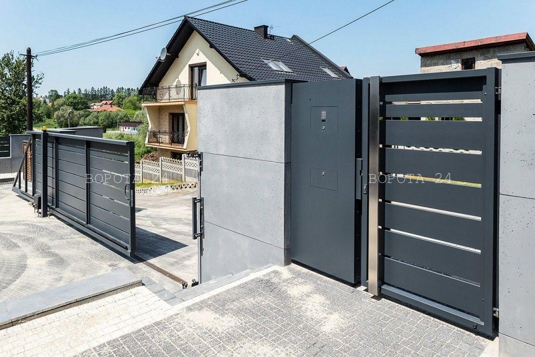 распашные и откатные ворота типа решетка - изготовление уличных конструкций под ключ - монтаж
