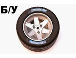 ! Б/У - Wheel 62mm D. x 46mm Technic Racing Large, with Black Tire Technic Racing Large with 'MICHELIN' White Pattern (22969 / 32296pb02), Metallic Silver (22969c03) - Б/У