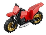 Motorcycle Dirt Bike with Black Chassis and Pearl Gold Wheels, Red (50860c03)