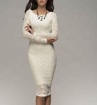 1b09bfe5595 Короткое белое кружевное платье футляр на свадьбу роспись с закрытой  спиной