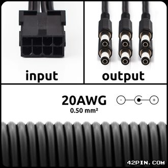 Переходник 1x8pin PCIe >> 6 x Barrel 5.5x2.1mm 20AWG, длина 30-120 см