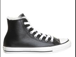 97535050f798 Зимние высокие кожаные кеды Converse с мехом   All Star Leather Black Fur -  1Q560 фото