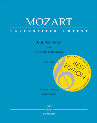 Mozart Cosi fan tutte KV588 Vocal Score