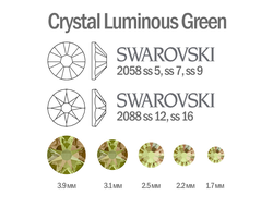 Мини-микс страз для маникюра Crystal Luminous Green - 30шт