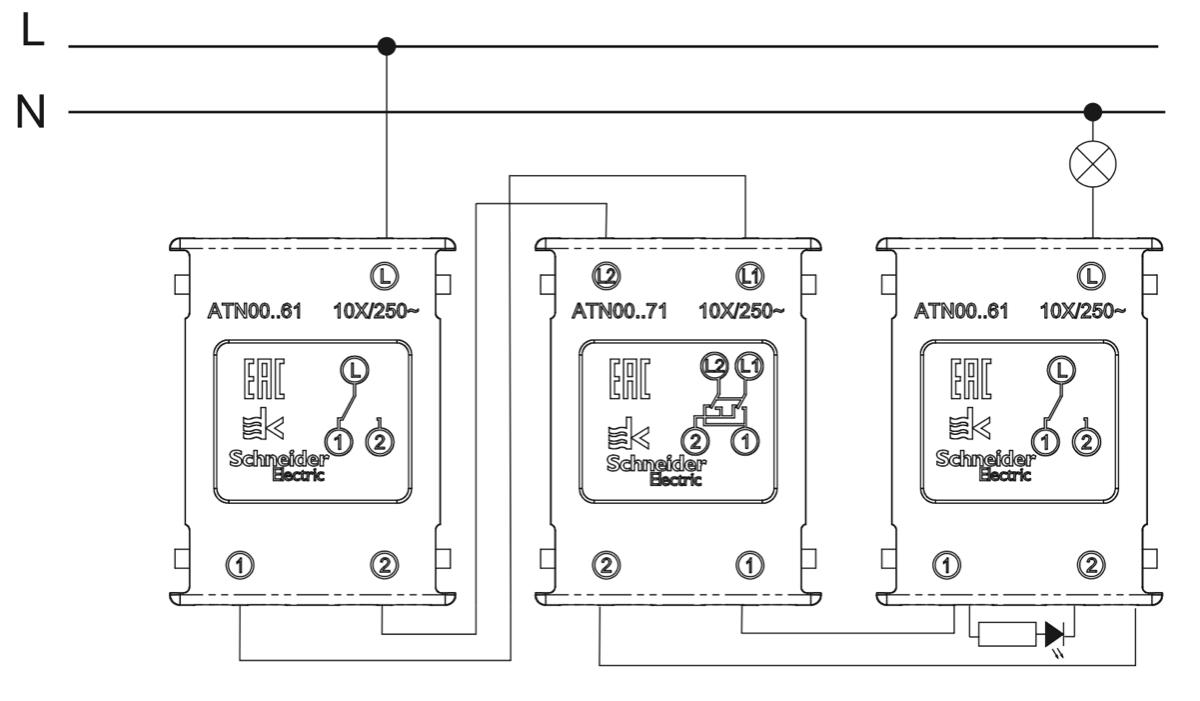 схема подключения перекрестного переключателя Schneider Electric
