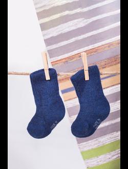 Носки детские из шерстяной пряжи синие