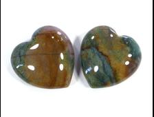 Сердце Яшма зеленая в ассортименте (30*30*13 мм, 16 г) №15948