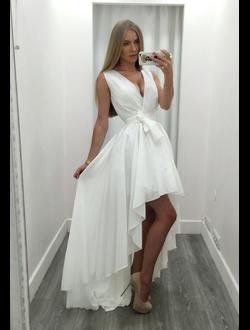 80ceee7b89f Белое шифоновое платье миди