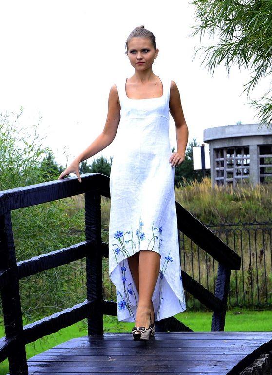 0efc788c5dfe8d0 Платье из белого льна с вышивкой Наталья Гайдаржи АРТ - ПВБ1009/НА ЗАКАЗ