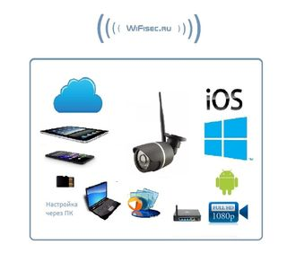 Уличная WiFi/LAN телекамера с DVR  и картой памяти 64 Гб, Full HD 2MP  (-30)