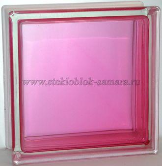 Стеклоблок Vitrablok окрашенный внутри гладкий розовый
