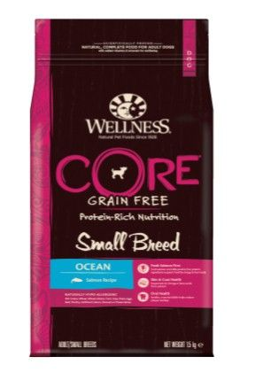 Сухой корм Wellness CORE Small Breed Ocean беззерновой для собак мелких пород, лосось, 1,5 кг