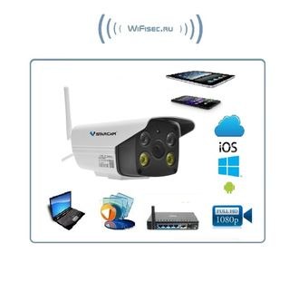 VStarcam. Уличная IP WiFi/LAN видеокамера с DVR, Full HD (до - 25)