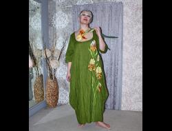 a4d8ed1a6296371 Платье из зеленого льна с вышивкой Наталья Гайдаржи АРТ - ПВЗ10010/НА ЗАКАЗ