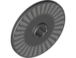 Technic, Disk 3 x 3 with Silver and Light Bluish Gray Fan Pattern, Black (2958pb081 / 6306819)
