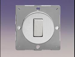 Одноклавишный  выключатель/переключатель 10А, Brushed Steel/матовая сталь (механизм)