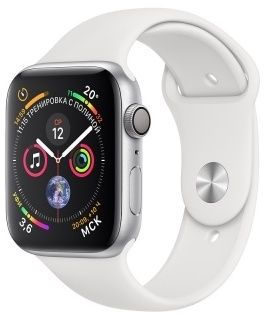 Apple Watch Series 4 40mm Aluminum Case with Sport Band MU642 (серебристый/ белый)