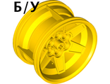 ! Б/У - Wheel 56mm D. x 34mm Technic Racing Medium, 6 Pin Holes, Yellow (15038 / 6065490 / 6276852) - Б/У