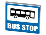 Road Sign 2 x 2 Square with Open O Clip with Bus and BUS STOP Pattern, White (15210pb020 / 6155407)