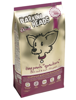 "BARKING HEADS SMALL BREED GRAIN FREE DUCK FND TROUT / TINY PAWS - QUACKERS/ БАРКИНГ ХЭДС БЕЗЗЕРНОВОЙ КОРМ ДЛЯ СОБАК МЕЛКИХ  ПОРОД  "" КРЯКВА  ДЛЯ МЕЛКОЛАПОГО"" УТКА /БАТАТ"