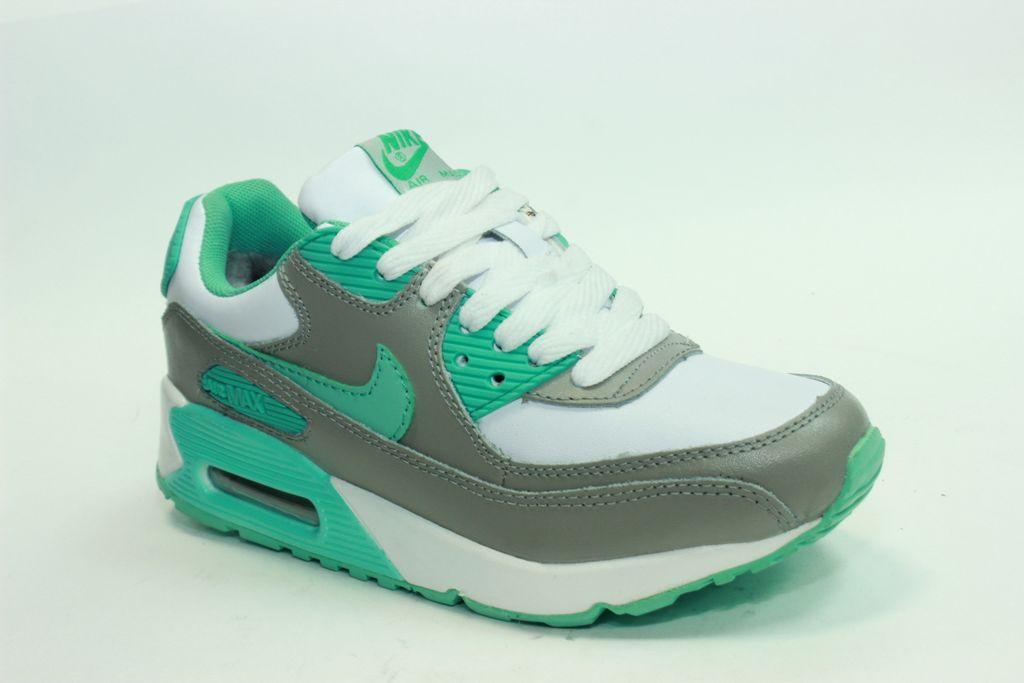 8c1807ea Купить кроссовки Nike Air Max 90 серо-бирюзовые, кожа мех в СПБ