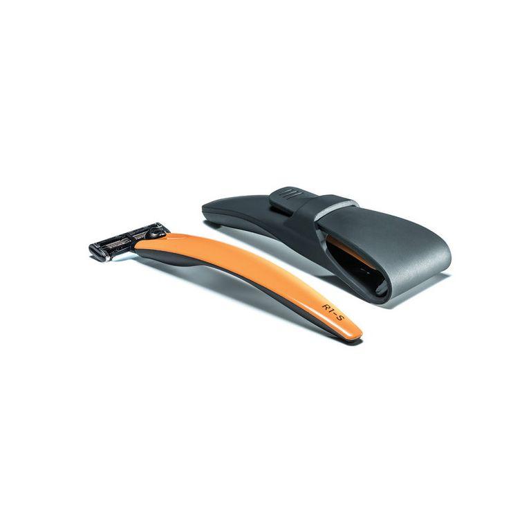 Подарочный набор Bolin Webb R1, бритва R1-S оранжевая, Gillette Mach3, дорожный чехол