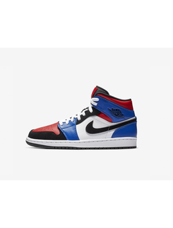 Air Jordan 1 Mid Top 3 Red Blue Black 554724-124