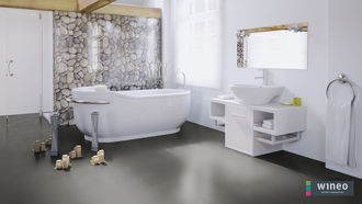 Виниловый пол Wineo 800 Tile L Solid Grey DB00097-3, клеевой, мелкого формата фото в интерьере