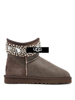 UGG JIMMY CHOO MULTICRYSTAL BOMBER CHOCOLATE