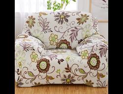 Чехол Принт на кресло, Цветы Зеленые