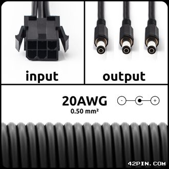 Переходник 1x6pin PCIe >> 3 x Barrel 5.5x2.1mm 20AWG, длина 30-120 см