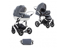 Универсальная коляска Tutis Mimi Style (2 в 1) Цвет Серый лен/кожа белая рама