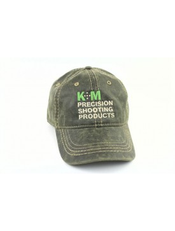 K&M Logo Hat - Oiled Leather Look - Olive, бейсболка