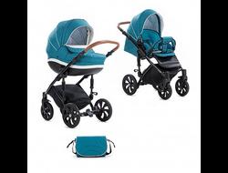 Универсальная коляска Tutis Mimi Style (2 в 1) Цвет Морская волна/кожа белая