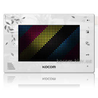 Комплект видеодомофона с замком Kocom KCV-A374LE white + AVP-05 brown + Lock